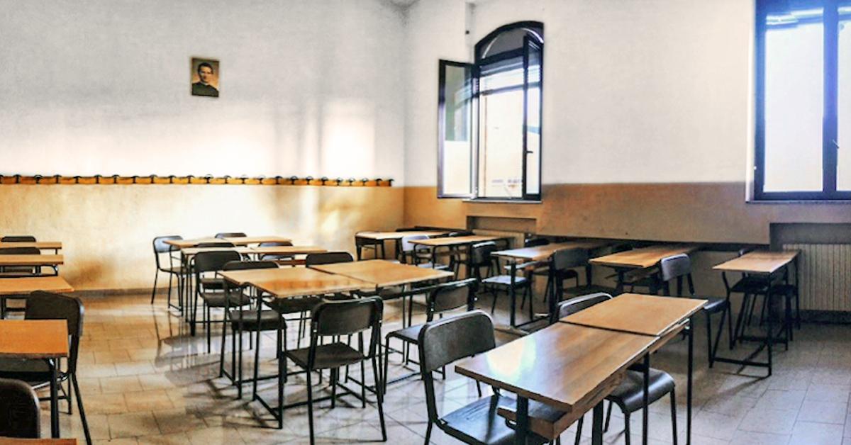Aula vuota causa Covid-19 del Liceo Salesiano S. Ambrogio Milano