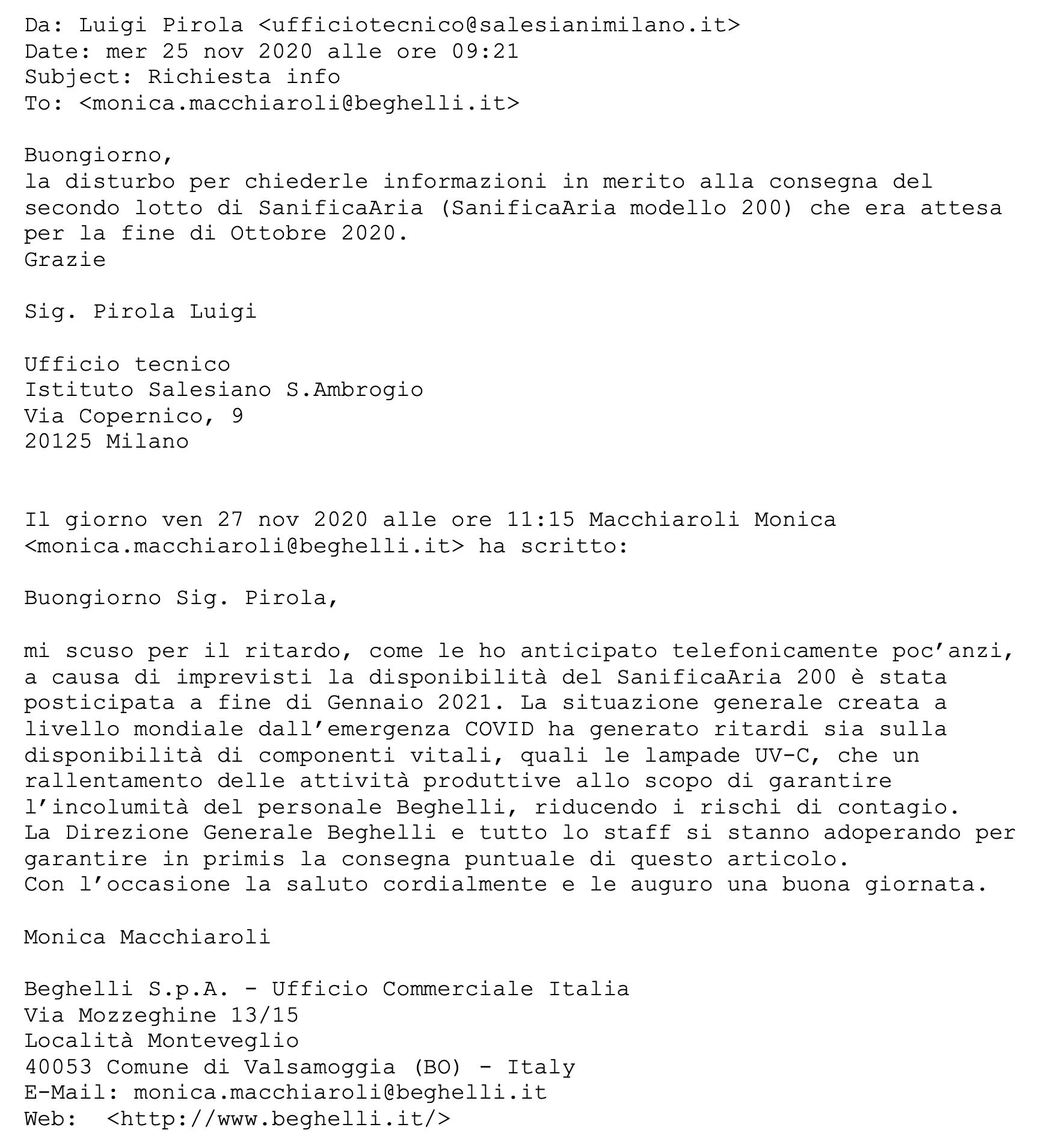 sanificatori Beghelli - Salesiani Milano